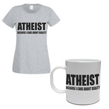 ATHEIST CARE ABOUT REALITY - Religion/Novelty Themed Women's T-Shirt and Mug Set