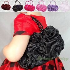 Satin Rosettes Pearls Handbag Tote Bag Wedding Flower Girl Communion Party #001