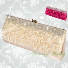 Diamante Satin Ruffle Clutch Handbag Bag Evening Wedding Bridal Party Prom #013
