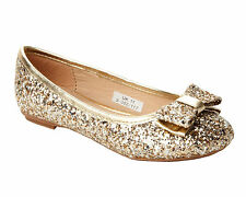 GIRLS GOLD SPARKLY GLITTER FLAT BALLET DOLLY PUMPS EVENING PARTY SHOES UK 10-5