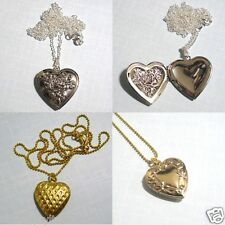 Heart Of Gold Locket Opens Up Swarovski Crystals Pendant Earrings Necklace Set