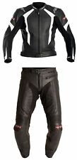 RST R-14 2PC WHITE/BLACK Motorbike/Biker Leather Jacket & Trousers Suit Cheap