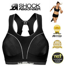 SHOCK ABSORBER Ultimate Run Black Sports Bra New  10 12 14 16 B to F Cups - AU