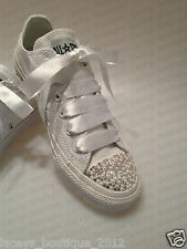 Customised Converse with Swarovski Crystal & Pearl Toes - All Sizes & Colours