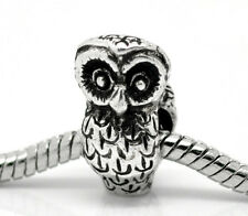 NEW Antique Silver Tone Owl Bird Animal Charm Bead Fit Most European Bracelet