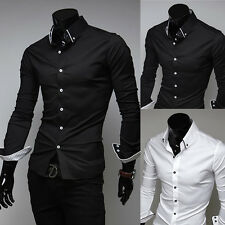 NEW Mens Dress Sexy Shirts Formal Casual Slim-fit Long Sleeve Business Shirts
