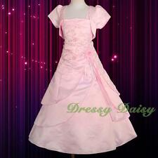 Beaded Satin Wedding Flower Girl Party Communion Dress Bolero Kid Size 2-11 #097