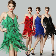 CHEAP~1 Lady Sexy New Fringe Flapper Latin Dancing V Neck Ballroom Tassel Dress