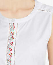 Ann Taylor – Misses' L & XL White Embellished Stretch Cotton Sateen Shell $79.00