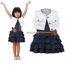 Fashion Toddler Girl Kids Outfit Clothes Coat+ Denim Dress 2 Piece Set with Belt