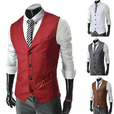 6 Colors Single-Breasted Mens Slim Fit Waistcoat Formal Vest Dress Suit Jacket