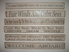 Shabby chic wooden signs memories trade winds beach sea home interiors leisure