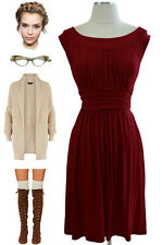 BURGUNDY Round Neck GATHERED DETAILING Casual Chic GRECIAN Goddess Day Dress