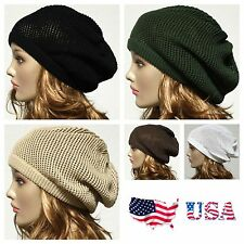 100% Cotton Net Style Oversized Beanie Slouchy Hat Baggy Cap Men's Women's