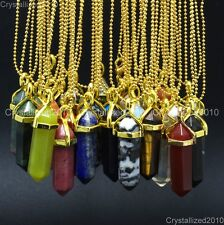 Natural Gemstones Hexagonal Point Reiki Chakra Healing Pendant 18K Gold Necklace