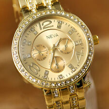 Stylish Luxury Ladies Women Bling Crystal Stainless Steel Quartz Wrist Watch Hot