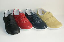 Ladies Leather Wide Fitting Shoes Velcro Fastening Red, Navy, Black, Lt Green