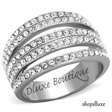 2.95 Ct Round Cut CZ Stainless Steel Wide Band Fashion Ring Women's Size 5-10