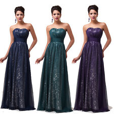 GLINT SEQUINS NEW Long Homecoming Evening Prom Party Dress WEDDING Cocktail Gown