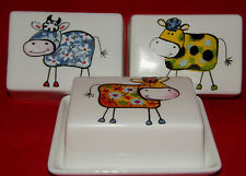 BN Crazy Cow White China Butter Dish, Rectangular Country Style Butter Dish