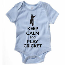KEEP CALM AND PLAY CRICKET - Sport / Funny / Batsman / Novelty Themed Baby Grow