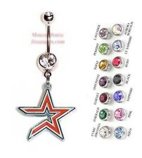 MLB HOUSTON ASTROS AUTHENTIC STAR LOGO CHARM DANGLE NAVEL BELLY RING! NRMLB-104