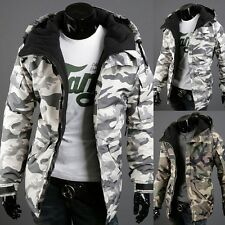 Stylish Men's New Long Sleeve Hooded Camouflage Zipper Coat Winter Jacket