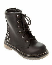 GIRLS BLACK STUDDED LACE UP BIKER HIGH ANKLE BOOTS WITH SIDE ZIP UK SIZE 13-5
