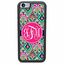 PERSONALIZED PRETTY FLORAL JEWELS PINK MONOGRAMMED CASE FOR IPHONE 6 6 PLUS