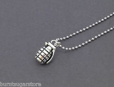 3D Silver Grenade Charm Necklace Ball Chain Pendant Bomb Army Camo Mens Jewelry