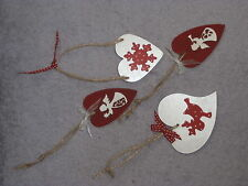 **SHABBY CHIC** Wooden Hanging Christmas Heart Decorations
