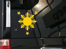 Filipino Vinyl Car Decal Sticker  5 (W)X 5.75 (H) with Philippine Sun & Stars