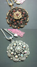Betsey Johnson Antique Bronze/Silver Crystal Hollow Flower Pendant Necklaces 532