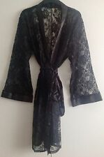 LADIES BLACK LACE WITH SATIN TRIMMING DRESSING GOWN/ROBE UK SIZES 12  ,14, 18