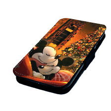 Mickey Minnie Christmas Printed Faux Leather Flip Phone Cover Case Disney Style