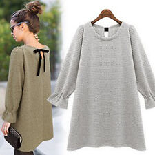 Women Winter Bow Tie Top Crew Neck Puff Sleeve Pullover Shift Sweater Mini Dress