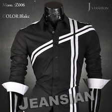 Jeansian Mens Casual Dress Shirts Tops Slim Fashion Collection 10 Color 5 Sizes