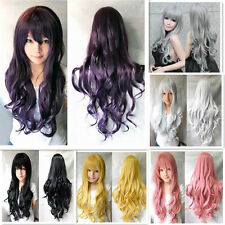 Lady Long Curly Wavy Hair Full Wig Cosplay Heat Resistant Cosplay Anime Wigs