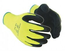 Thermal Hi Vis Yellow Grip Gloves Portwest A140 (12 X PAIRS)  M-XL
