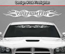 Design #108 FIREFIGHTER Tribal Flame Windshield Decal Window Sticker Graphic Car