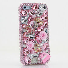 iPhone 6 6S / 6S Plus 5S Bling Crystals Case Cover Pink Purse Flowers Diamonds