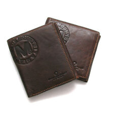 New Genuine Leather Mens Bifold Wallet with Back Coin Pocket Purse
