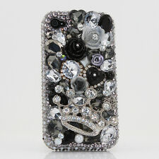 iPhone 6 6S / 6S Plus 5S Bling Crystals Case Cover Black Silver Crown Flowers