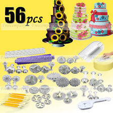 56Sets Fondant Cake Sugarcraft Craft Decorating Icing Topper Cutter Die Mold Set