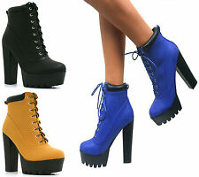 WOMENS HIGH HEEL GRIP CLEATED SOLE LACE UP CHUNKY PLATFORM ANKLE BOOTS SHOES