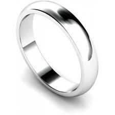 Platinum Finish 925 Sterling Silver 4mm Wedding Ring/Band D Shape Various Sizes