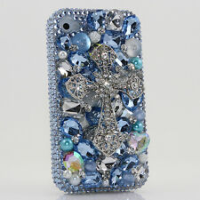 iPhone 6 6S / 6S Plus 5S Bling Crystals Case Cover Blue Clear Cross White Pearls