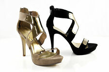 Therapy Shoes Mancora Strappy High Platform Sandals Heels Black Natural Suede