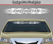 Design #114 FIREFIGHTER Tribal Flame Windshield Decal Window Sticker Graphic Car