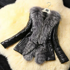 Fashion Women's Winter Warm Fur Collar Coat Leather Cotton Jacket Overcoat Parka